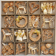 Straw Ornaments - Boxed Assortment (48 pc) (H1-789)