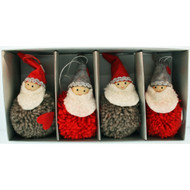 Tomte-Santa Yarn Ornaments - 4 inch - Red & Grey - 4 Pack (H1-2354)