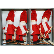 Tomte Santa Skier Ornaments - Boxed Set of 4 (H1-2114)
