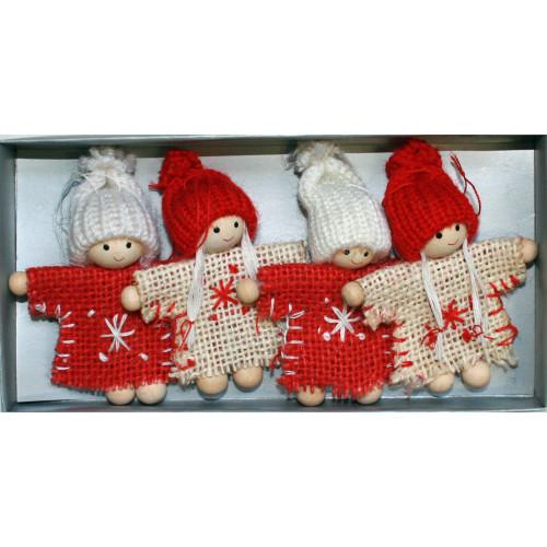 Tomte Girl & Boy Burlap Ornaments - 4 pack (H1-2110)