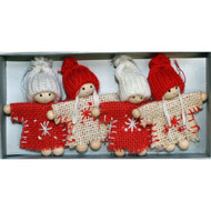 Tomte Girl & Boy Burlap Ornaments - 4 pack (H1-2110)