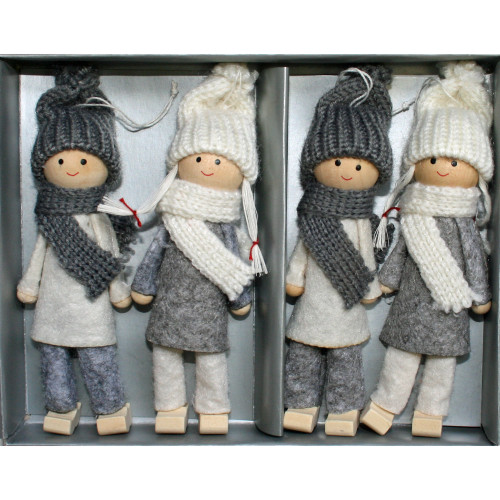 "Tomte-Santa Boy & Girl Ornaments - 4 pack - Grey & White - 5"" (H1-2245)"