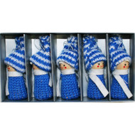 Tomte-Santa Boys Blue Ornaments - 3 inch - 5 pack (H1-2161)