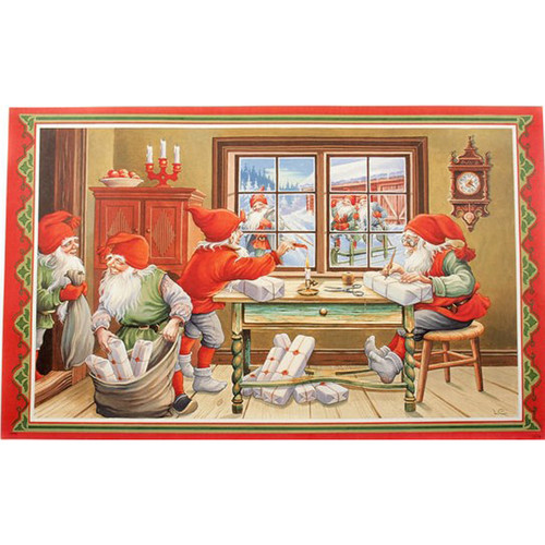 "Scandinavian Christmas Poster - Jultomtar - Nisse Gift Wrap Party - 17"" x 27"" - Lars Carlsson (BKP04)"