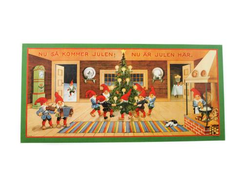 Scandinavian Christmas Poster - Tomtes Around Jul Tree (BKP18)