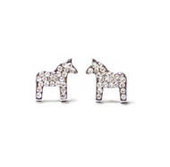 Dala Horse Krystal Silver Earrings (Posts/Stick)