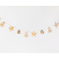 Lighted Wooden Houses, Stars & Trees Garland w/Adapter - 6 Feet Long (CY0036)
