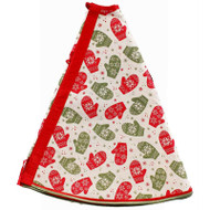 "Mittens and Snowflakes Jute Tree Skirt - 48"" Diameter (RT0406)"
