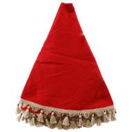 "Red Burlap Tree Skirt w/Jute Tassles - 57"" Diameter (RT0474)"