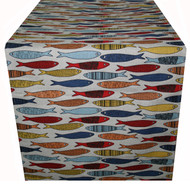 Linen/Cotton Blend Table Runner - Fish- 16 inch x 48 inch (TR036)