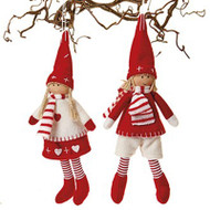 Scandinavian Boy & Girl Pixy Ornaments - Set of 2 (8587)