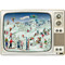 "Advent Calendar - Skiing on the Retro TV - 11.75"" x 16.5"" (92516)"