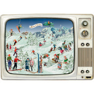 "Advent Calendar - Skiing on the Retro TV - 11.75"" x 16.5"" (92516)"