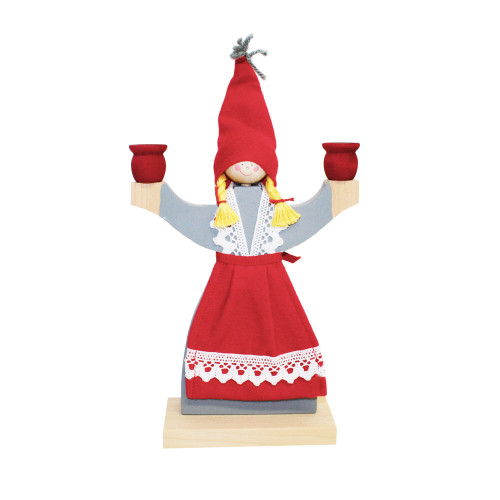 """Wooden Candle Holder - Girl With Apron - 9"""" (1601)"""