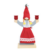 "Wooden Candle Holder - Girl With Apron - 9"" (1601)"