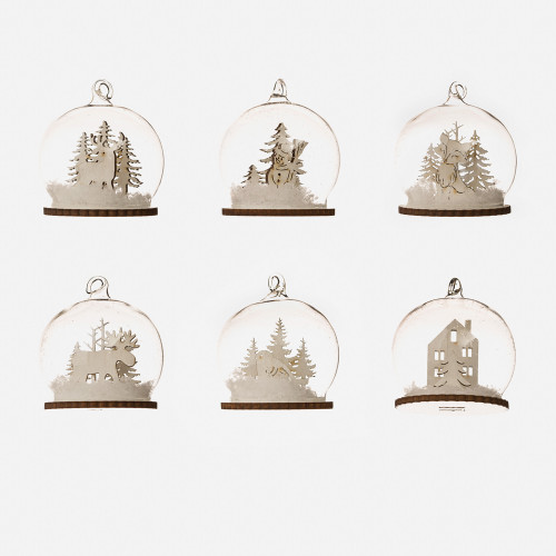 Nordic Mini Dome Glass Ornaments - Set of 6 (EM1357)