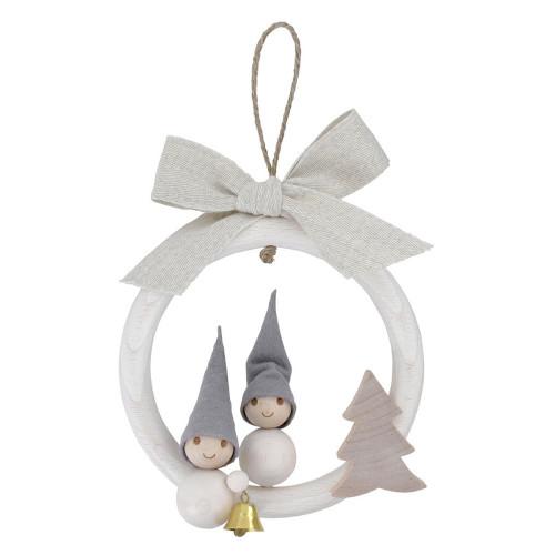 Tunturi Pakkanen Christmas Frost Elf Ornament - Boy & Girl in Wreath (B6083)