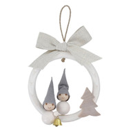 Tunturi Pakkanen Christmas Frost Elf Ornament - Boy & Girl in Wreath (B6083)
