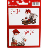 God Jul Gift labels - Tomtegubbar - 6-pack - Kerstin Svensson (11595201F)