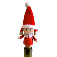 "Tomte Girl Bottle Cork/Stopper - 4"" - Wooden (26305)"