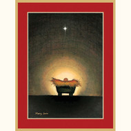 Caspari Boxed Christmas Cards - Star and Creche - 16 In (81204)