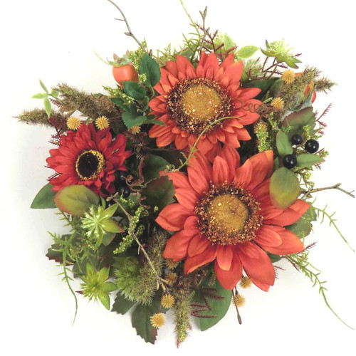 "Candle Ring - Sunflower Berry Wreath - 4"" (L508-Y7)"