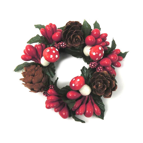 "Candle Ring - Mushroom Cone Red & White - 3"" (E249-RW)"