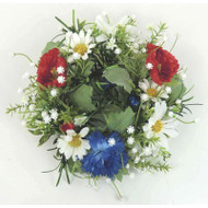 "Candle Ring/Pillar Wreath - Daisy Poppy Corn Flower - 5"" (E138-RBW"
