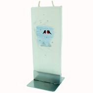 Handmade Decorative Flat Candle - Domherre/Bullfinch - White (F1621)