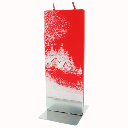 Handmade Decorative Flat Candle - Red Stuga - White Forest (FL010)