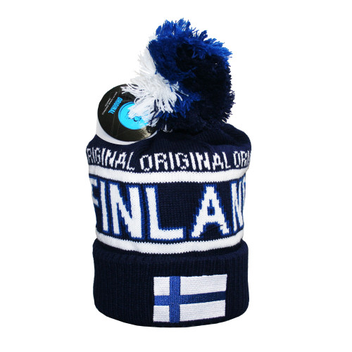 Finland Knit Hat w/Flag - Blue/White - Unisex Size (F12B)
