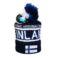 Finland Knit Hat w/Flag - Blue/White - Unisex Size (F12B)