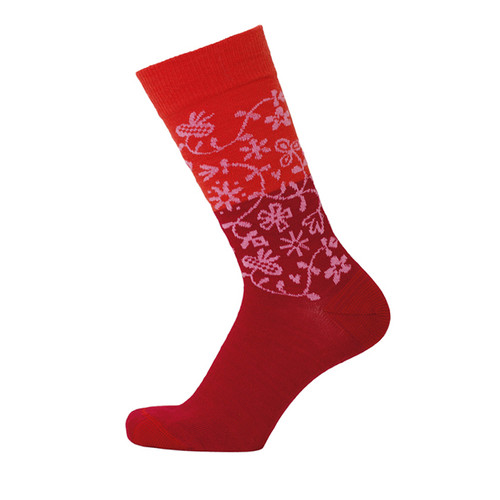 Bengt & Lotta Socks - Garden - Red - merino wool/cotton blend (712703)