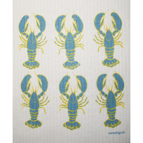 Swedish Dishcloth - Lobsters - Blue/Yellow (70092)