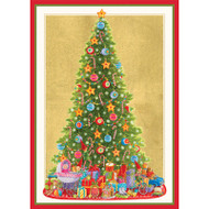 Caspari Boxed Christmas Cards - Santa's Tree - 16 In (86112)