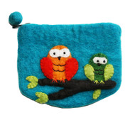 Felt Coin Purse - Owls Blue (F303)