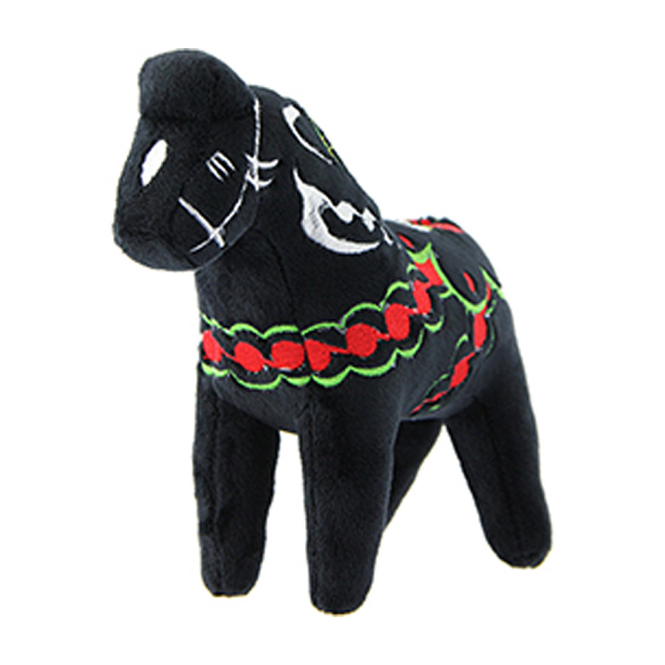Dala Horse Stuffed Animal Plush Toy Black Scandinavianshoppe