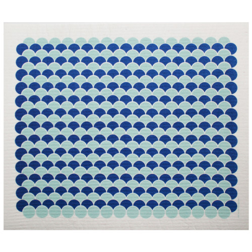 Swedish Drying Mat - Scallops - Aqua/Blue (220.12)