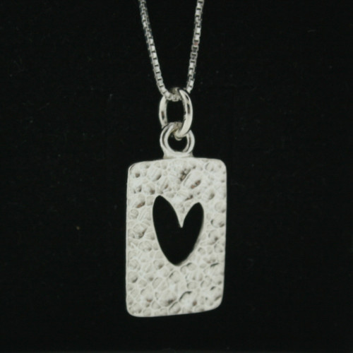 Silver Necklace/Pendant - Cut Out Heart - Post (101-910)