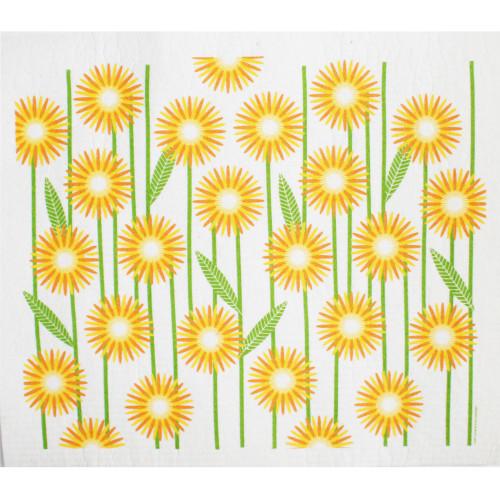 Swedish Drying Mat - Daisies - Yellow (220.10)