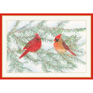 Cardinals On Snowy Pine Christmas Card Box B Size 16 In (88109)