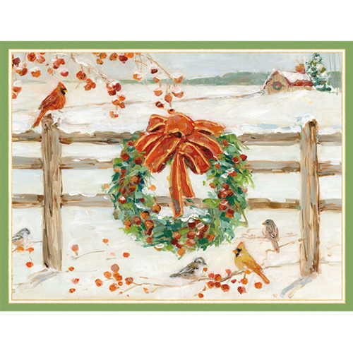 Wreath On Snowy Fence Christmas Card Box C Size 16 In (88216)