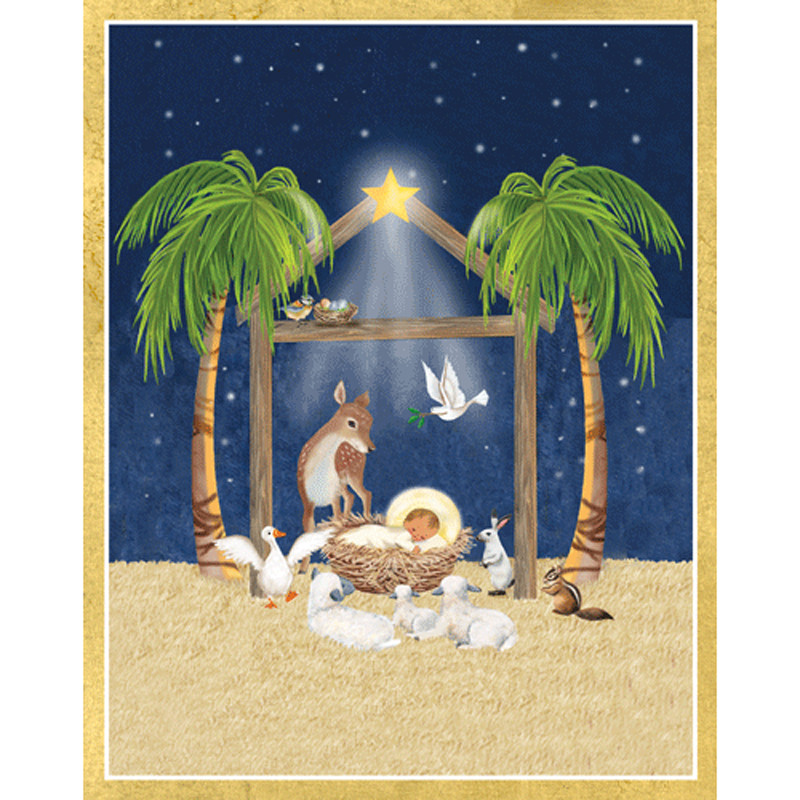 Caspari Christmas Cards.Creche Scene Christmas Card Box A Size 16 In