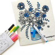 Swedish Coloring Dishcloth and Marker Set - Flowers