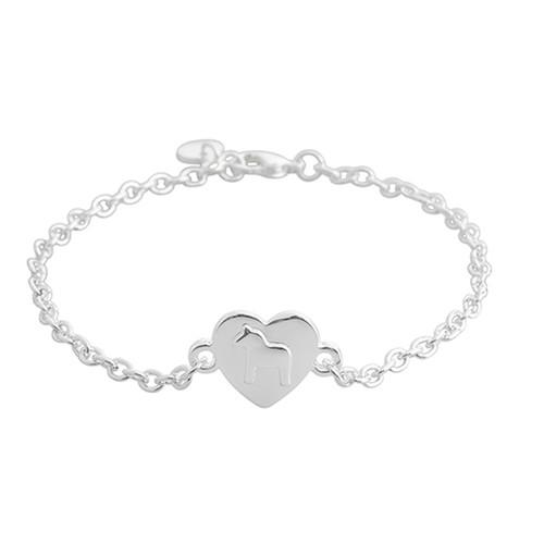 Dala Horse - Silver Heart Bracelet (63021)