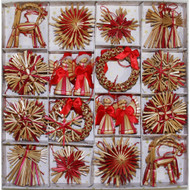 Straw Ornaments - Boxed Assortment - 56 pc. (H1-714)