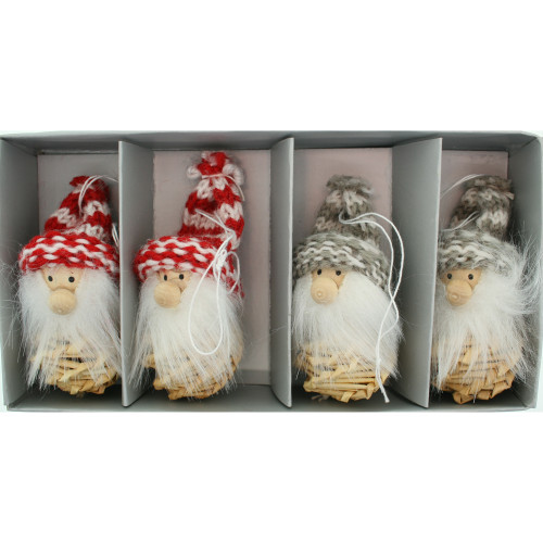 Tomte-Santa Nordic Gnome Ornaments - 4 Pack (H1-2447)