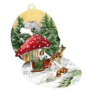 "Pop-Up Paper Bauble Gift Tag Decoration - Mushroom House - 2.75"" (94415D)"