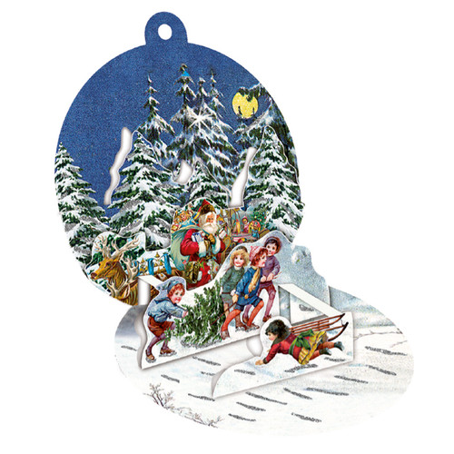 "Pop-Up Paper Bauble Gift Tag Decoration w/envelope - Santa and Kids - 2.75"" (94415C)"