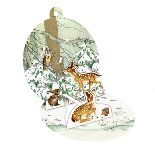 """Pop-Up Paper Bauble Gift Tag Decoration w/envelope - Woodland Friends - 2.75"""" (94415A)"""
